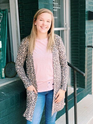 Brown Gray Leopard Cardigan with Pockets