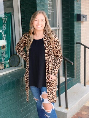Tan Brown Leopard Cardigan with Pockets