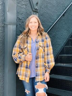 Cotton Plaid Mustard Puff Sleeve Flannel