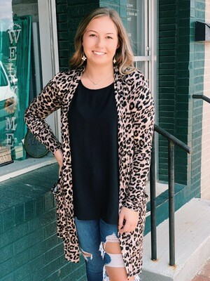 Tan Mocha Leopard Cardigan with Pockets
