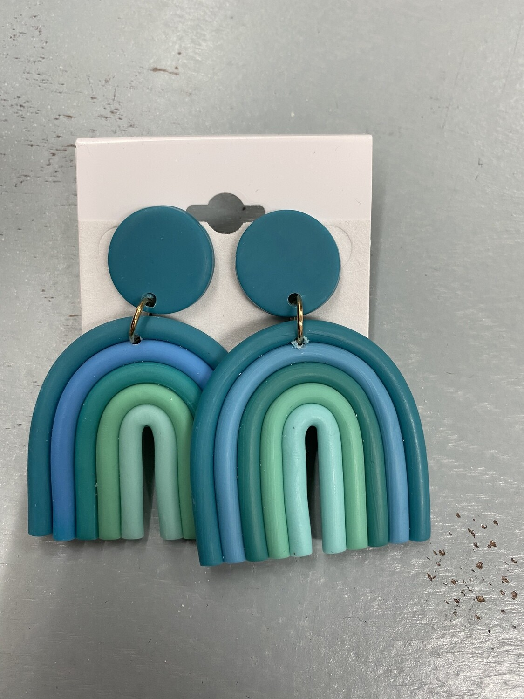 Blue Rainbow Clay Earrings