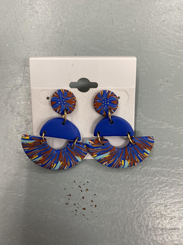 Blue Dangle Clay Earrings