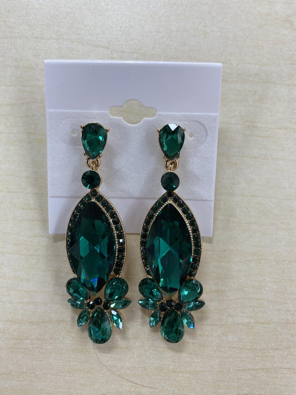 Formal Earrings Gold Base Green Drop