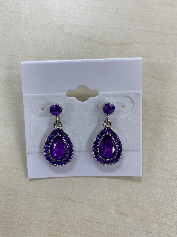 Formal Earrings Purple Diamond