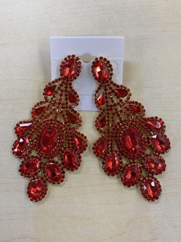 Formal Earrings Xlarge Red