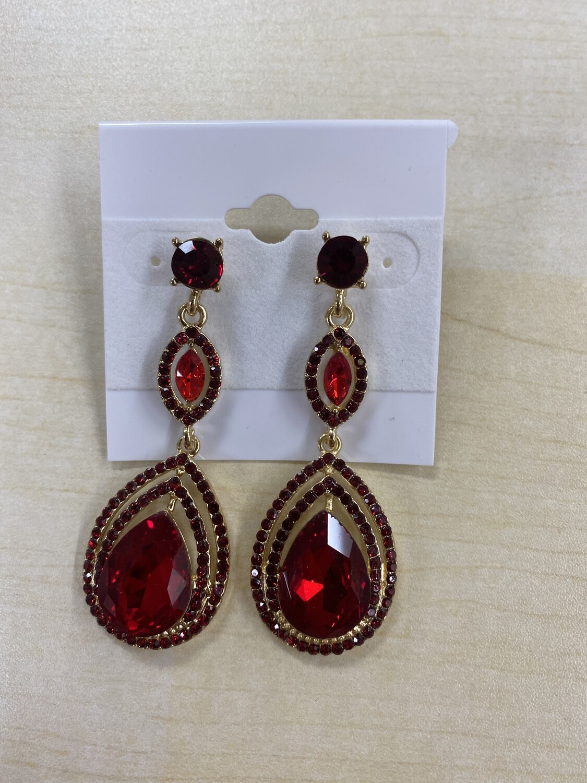 Formal Earrings Red Jasmine