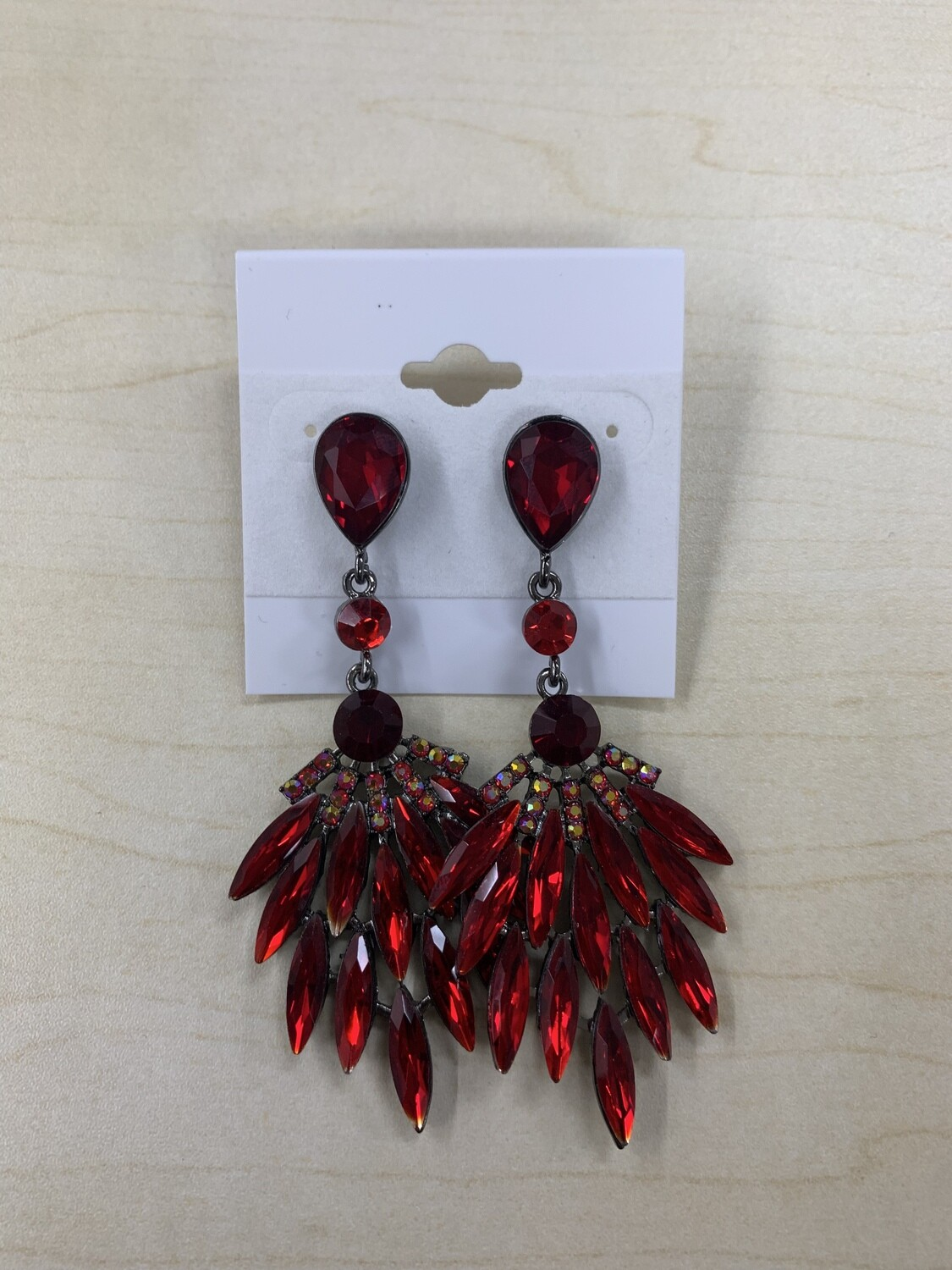 Formal Earrings Bright Red Peacock Feathers