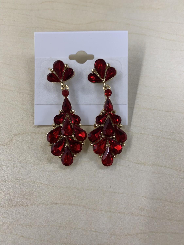 Formal Earrings Small Red Teardrop Stone