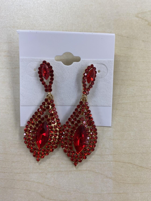 Formal Earrings Red Multi Shape Stone