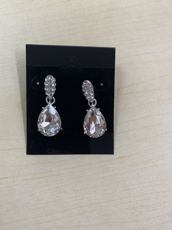 Formal Earrings Silver Clear Simple