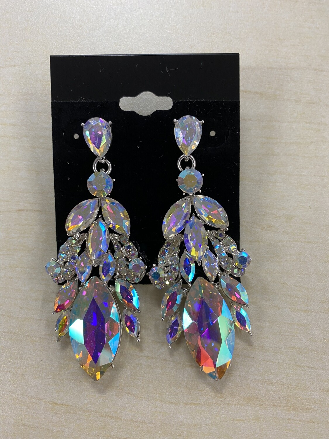 Formal Earrings Silver AB Peacock Pointed