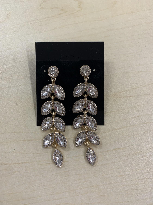 Formal Earrings Gold Clear Leaves