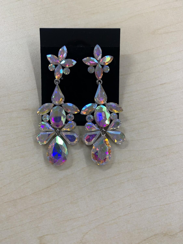 Formal Earrings Silver AB Flower