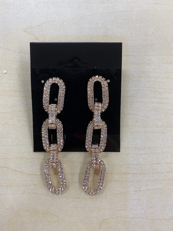 Formal Earrings Clear Gold Chain Link