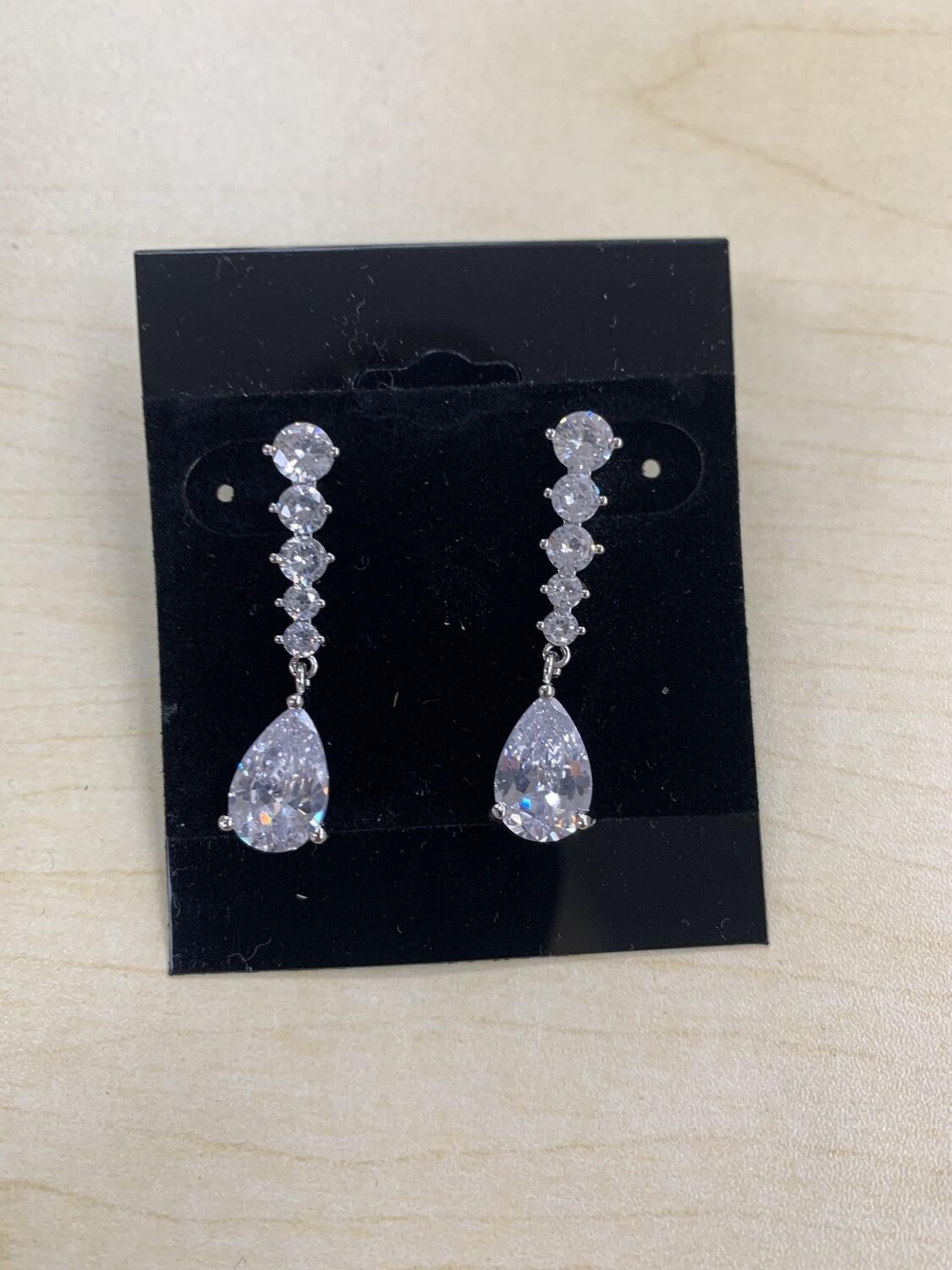 Formal Earrings Silver Sm Line