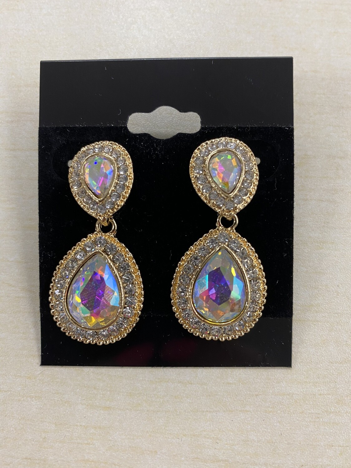 Formal Earrings Gold AB with Clear Outline Teardrop