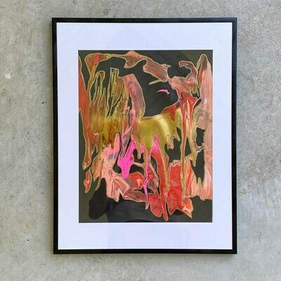 Mixed Medium Abstract in acrylic glass frame