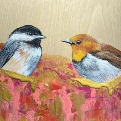 Carolina Chickadee and Friend on wood board