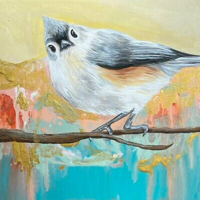 Titmouse birdie on wood board