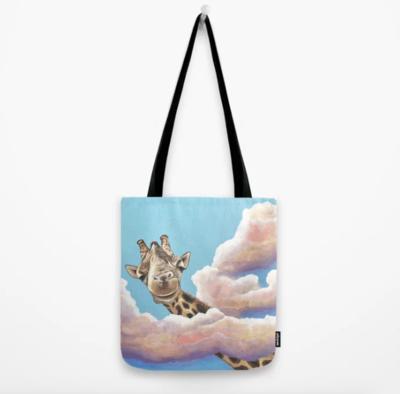 Giraffe High in the Clouds Tote Bag