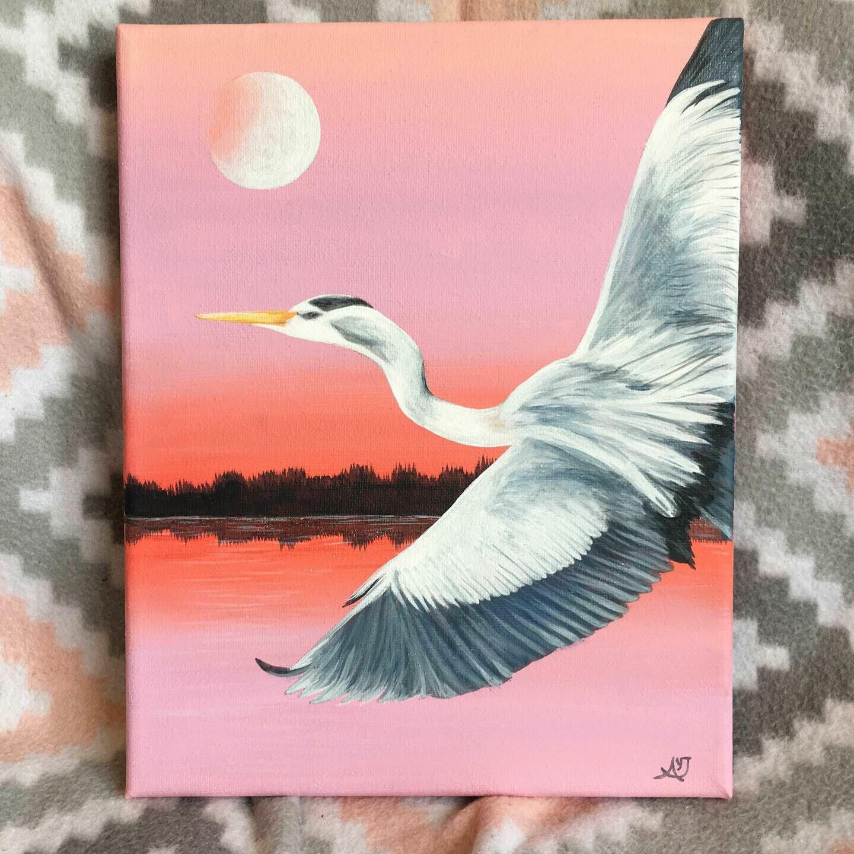 Pink Sky and Moon Blue Heron