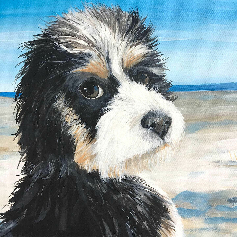 6x6 Custom hand painted pet portrait