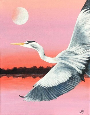 Pink Sky and Moon Blue Heron