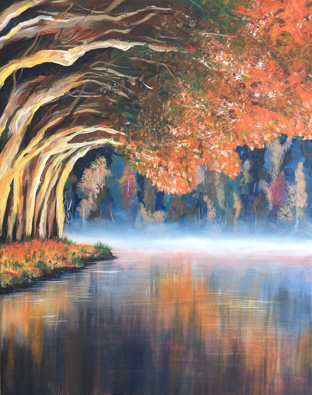 Print of Misty Lake painting