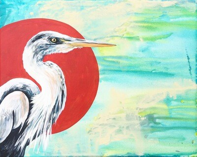Print of Blue Heron's water painting