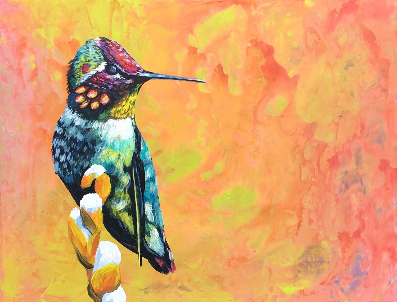 Print of Hummingbird Abstract