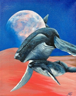 Print of Whale And her Baby painting