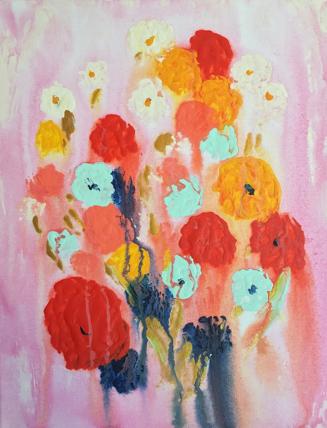 Print of Abstract Florals painting