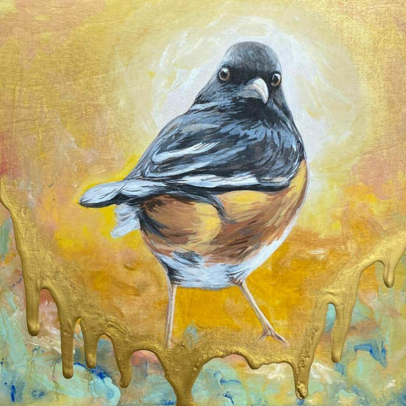 Print of Eastern Towhee Bird painting