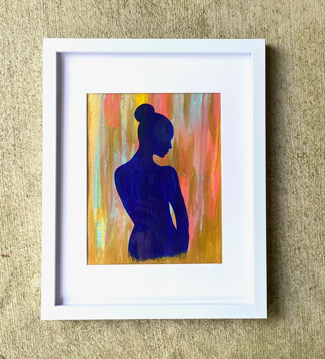 Framed Painting of Blue Lady Gold