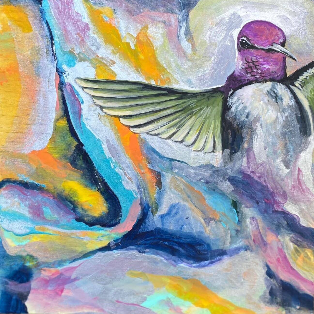 Hummingbird Dream painting on woodboard