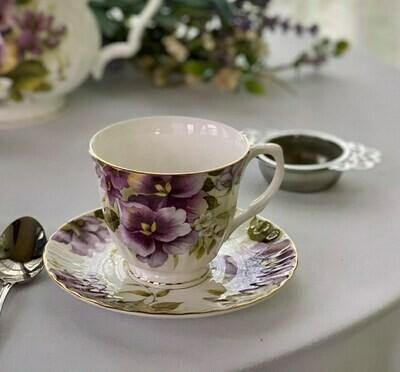 Pansies Tea Cup and Saucer