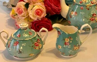 Shabby Rose Aqua Creamer and Sugar