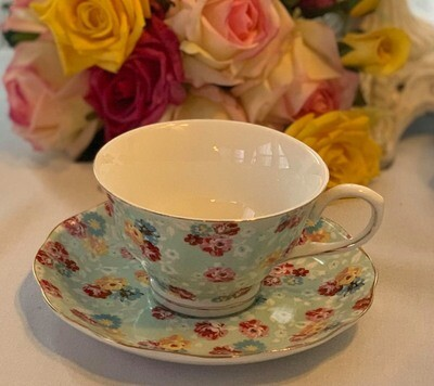 Shabby Rose Sky Blue Cup and Saucer