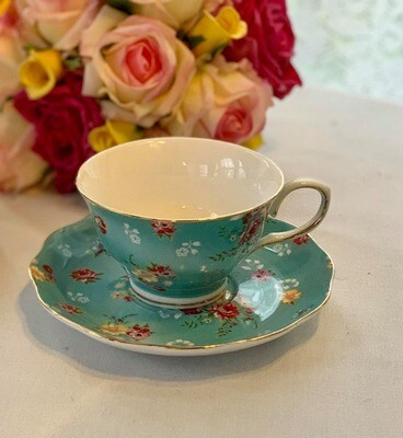 Shabby Rose Aqua Cup and Saucer