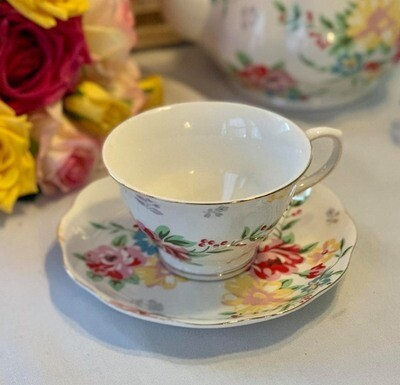 Shabby Rose White Cup and Saucer