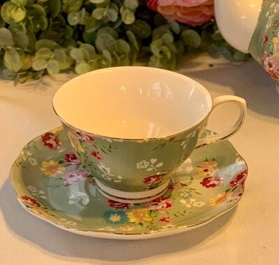 Shabby Rose Green Cup and Saucer