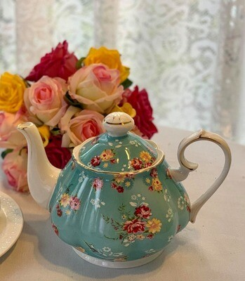 Shabby Rose Aqua Tea Pot