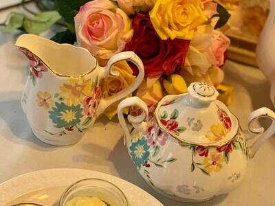 Shabby Rose White Creamer and Sugar