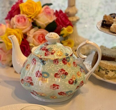 Shabby Rose Sky Blue Tea Pot
