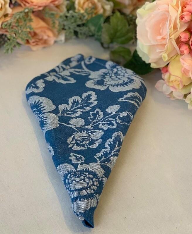 Blue Jacquard Table Linens