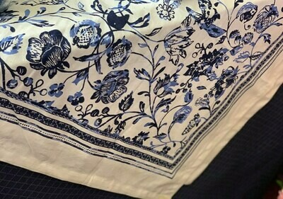 Blue and White Floral Table Linens