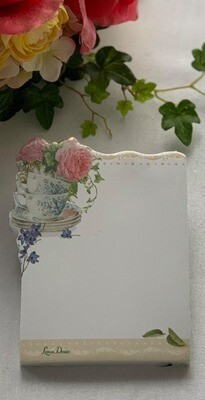 Blue and White Tea Cup Sticky Note Pad