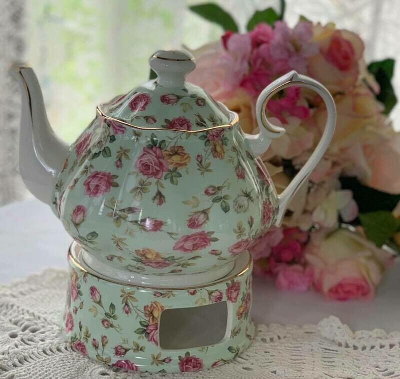 Rose Chintz Mint Tea Pot