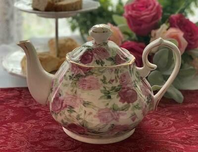 Rose Chintz Ivory Tea Pot