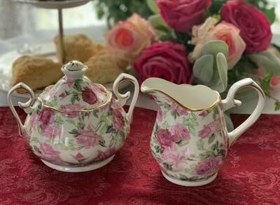 Rose Chintz Ivory Cream and Sugar